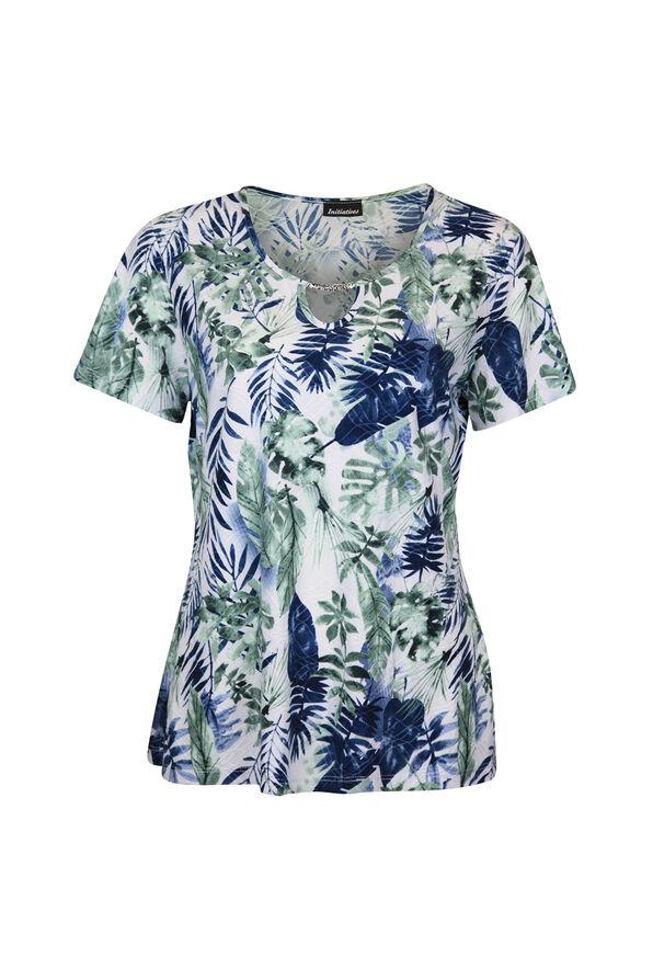 Keyhole Neckline Leaf Print Short Sleeve Shirt, White, original image number 0