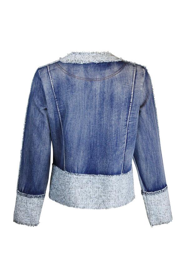 Tweed Trimmed Denim Jacket, Denim, original image number 1