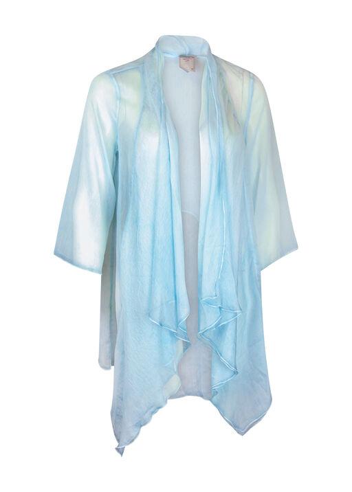 Drape Front Chiffon Cardigan, Turquoise, original