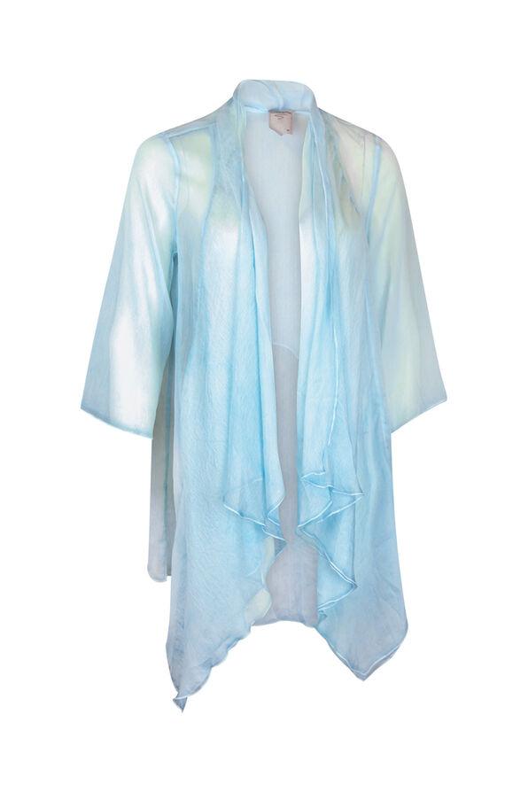 Drape Front Chiffon Cardigan, Turquoise, original image number 0