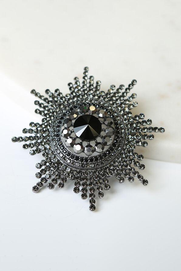 Large Starburst Brooch , Black, original image number 0