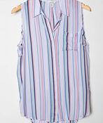 Striped Sleeveless Blouse, Green, original image number 0