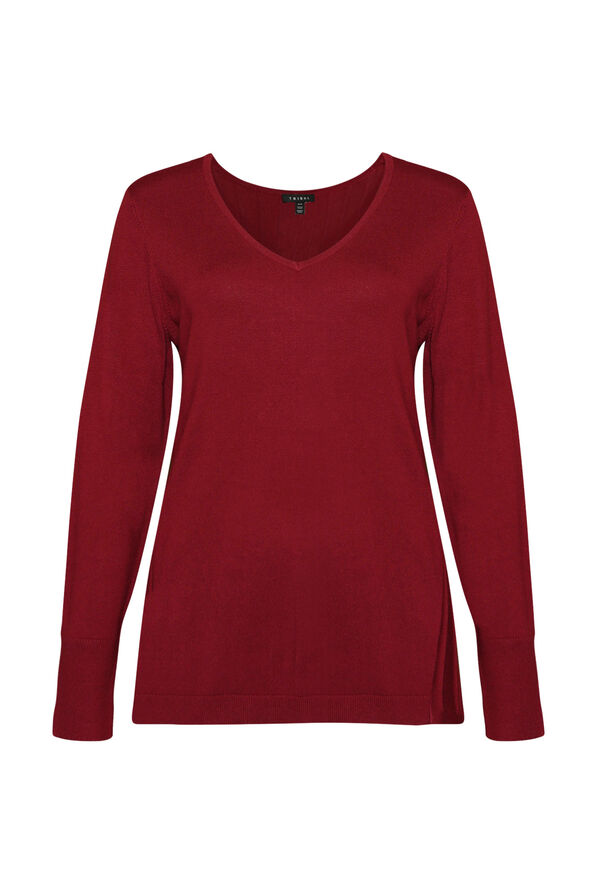 Raya Ribbed Back V-Neck Sweater, , original image number 0