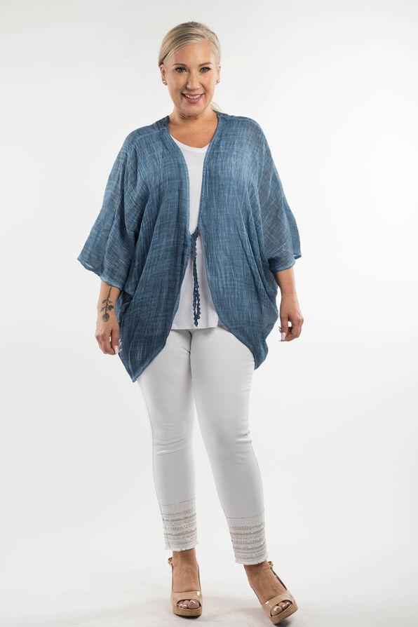 Lace Back Kimono, Denim, original image number 0