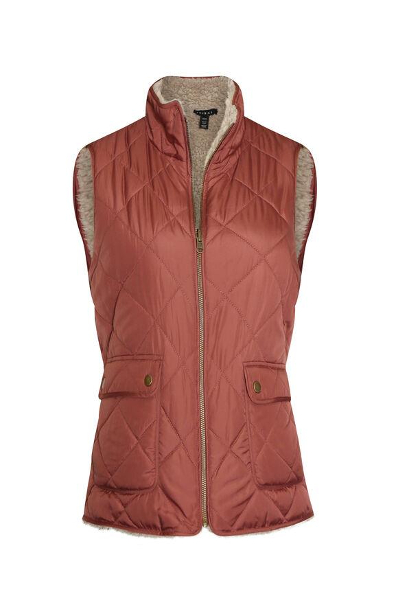 Reversible Sherpa Vest, Red, original image number 0