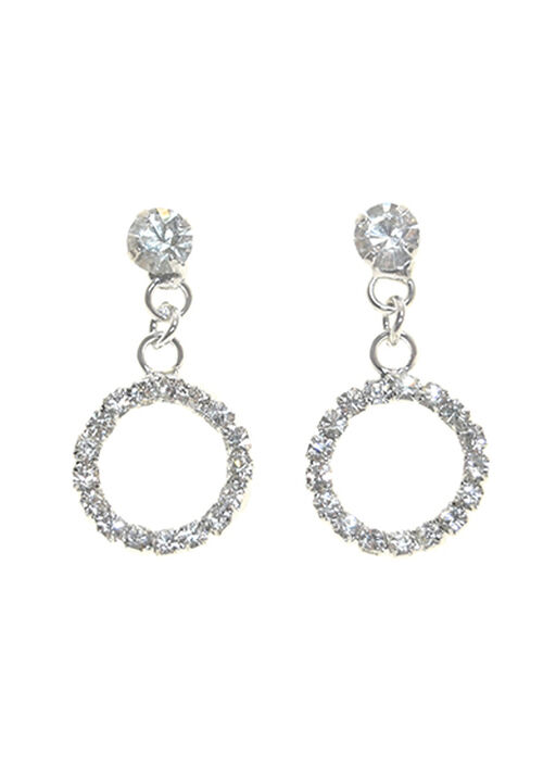 Elegant Crystal Earrings, Silver, original