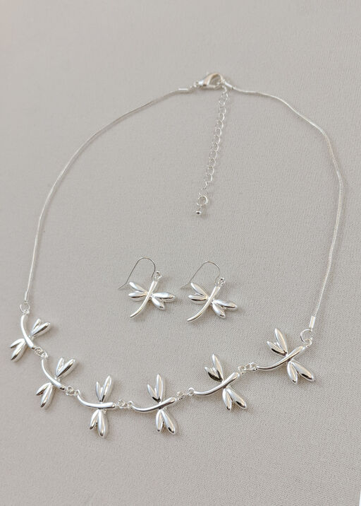 Dainty Dragonfly Necklace and Earring Set, , original