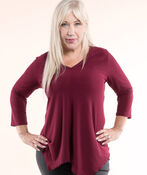 Top With V Neck And Hankie Hem, Burgundy, original image number 0