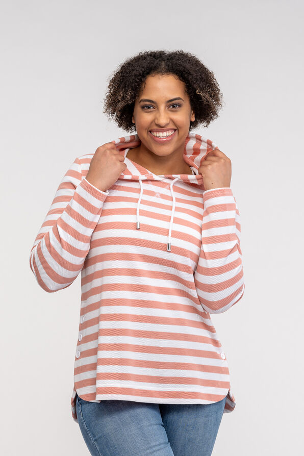 Striped Hooded Waffle Long Sleeve Top, , original image number 1
