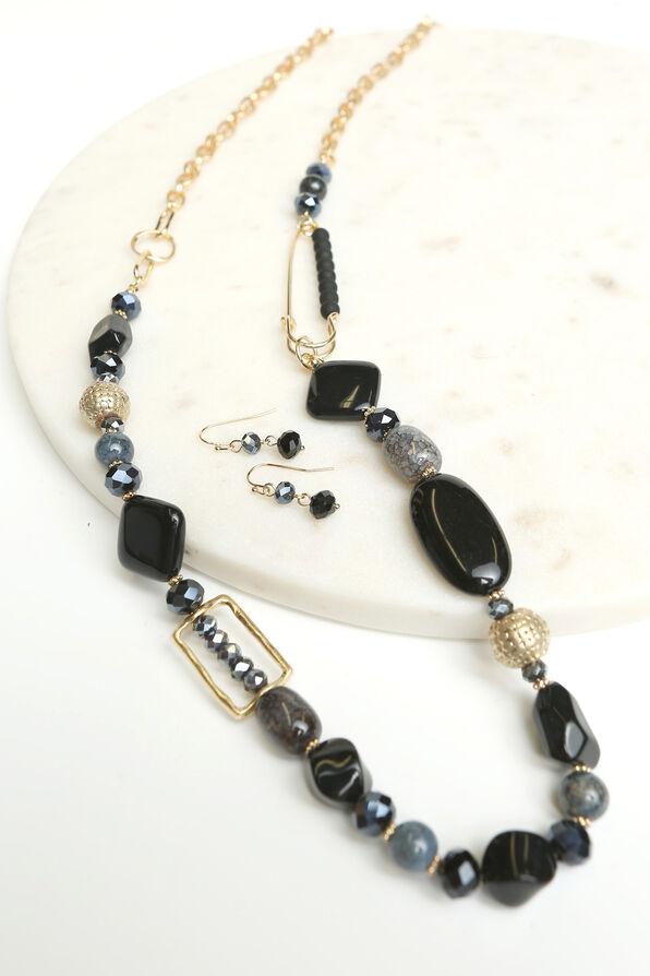 Elegant Long Necklace Set , Gold, original image number 1