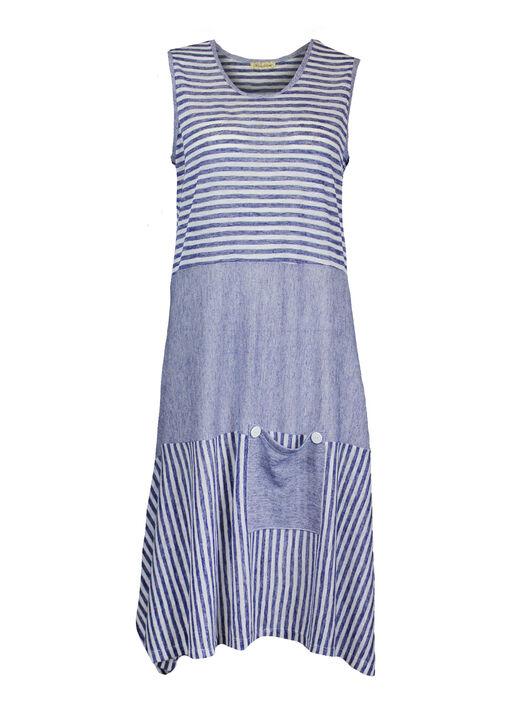 Sleeveless Striped Dress with Patch Pocket, Navy, original