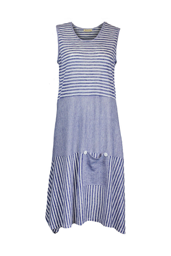 Sleeveless Striped Dress with Patch Pocket, Navy, original image number 0