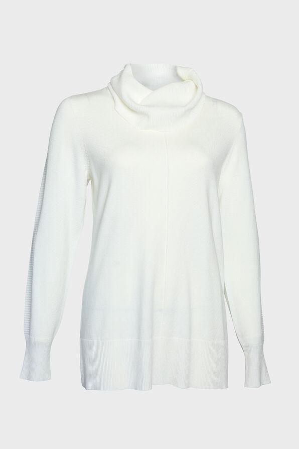 Ribbed Trim Cowl Neck Sweater, , original image number 2