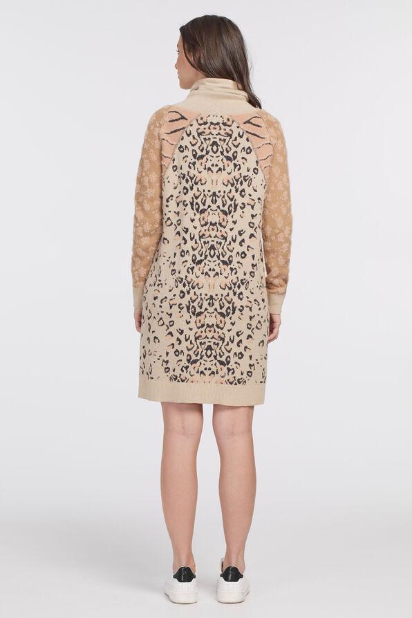 Intarsia Sweater Dress, Pink, original image number 1