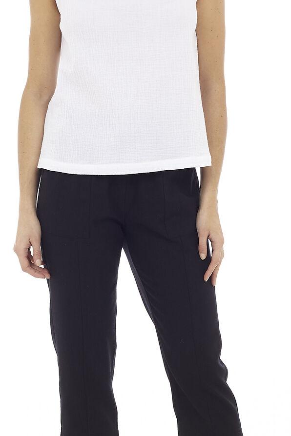 Wide Leg Linen Capri Pant, , original image number 0