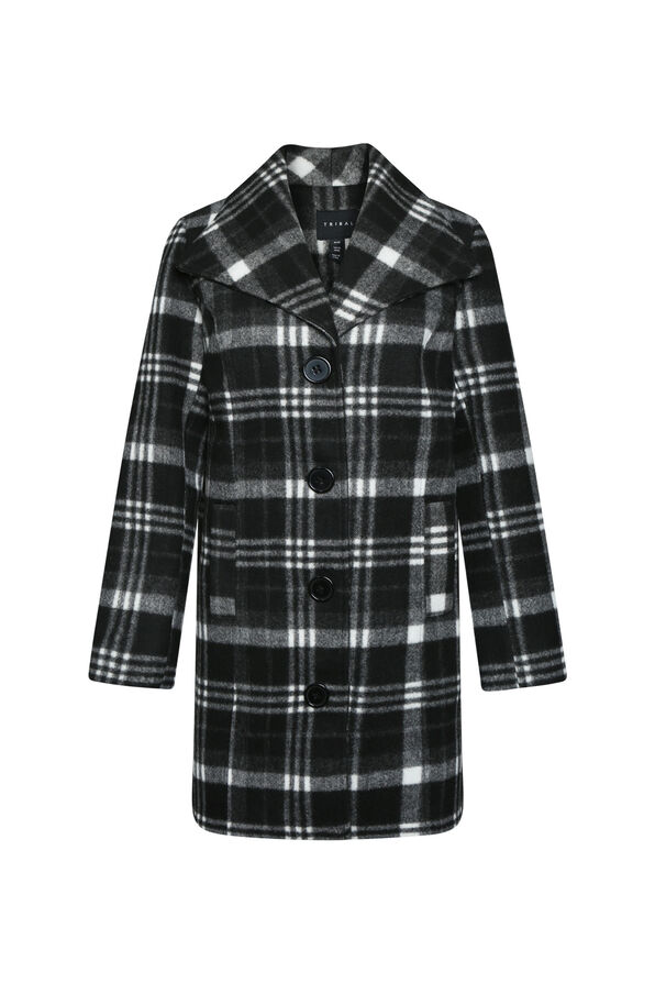 Plaid Pea Coat, , original image number 1