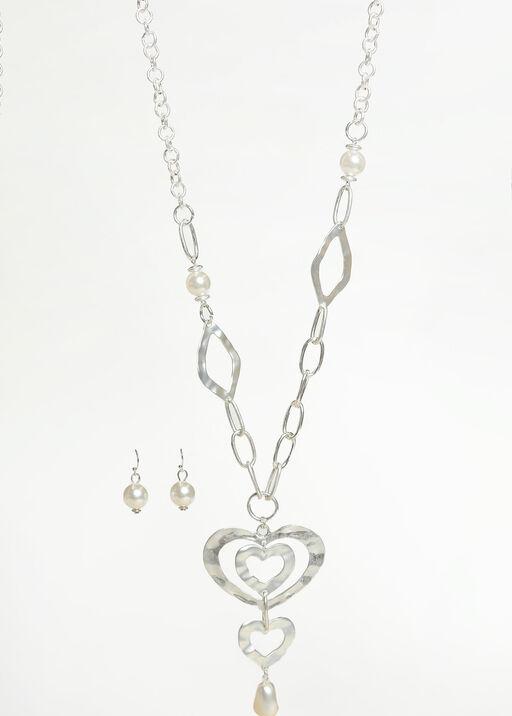 Triple Heart Pendant Necklace Set, Silver, original