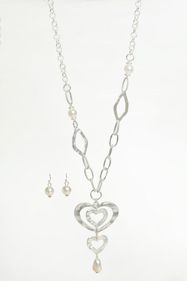 Triple Heart Pendant Necklace Set, Silver, original image number 0