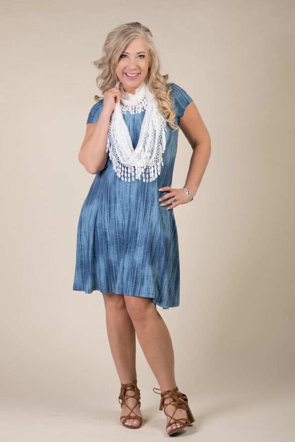 Adeline Shift Dress, Denim, original image number 2