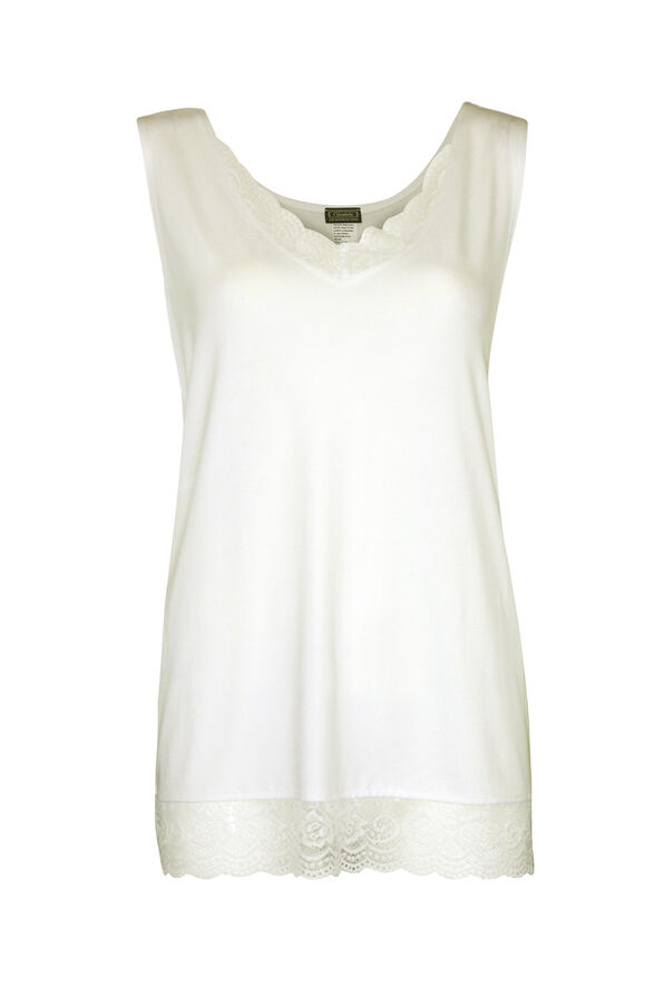 Sleeveless Lace Trimmed Top, , original image number 1
