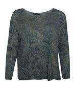 Golden Shimmer Animal Print Long Sleeve Top, Olive, original image number 0