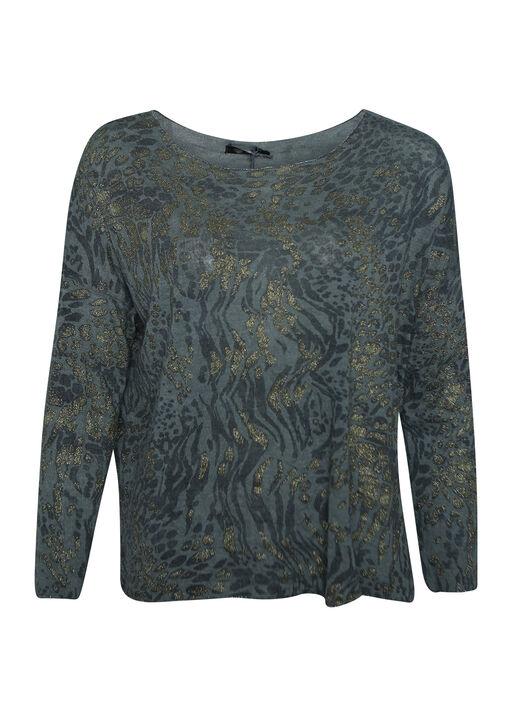 Golden Shimmer Animal Print Long Sleeve Top, Olive, original