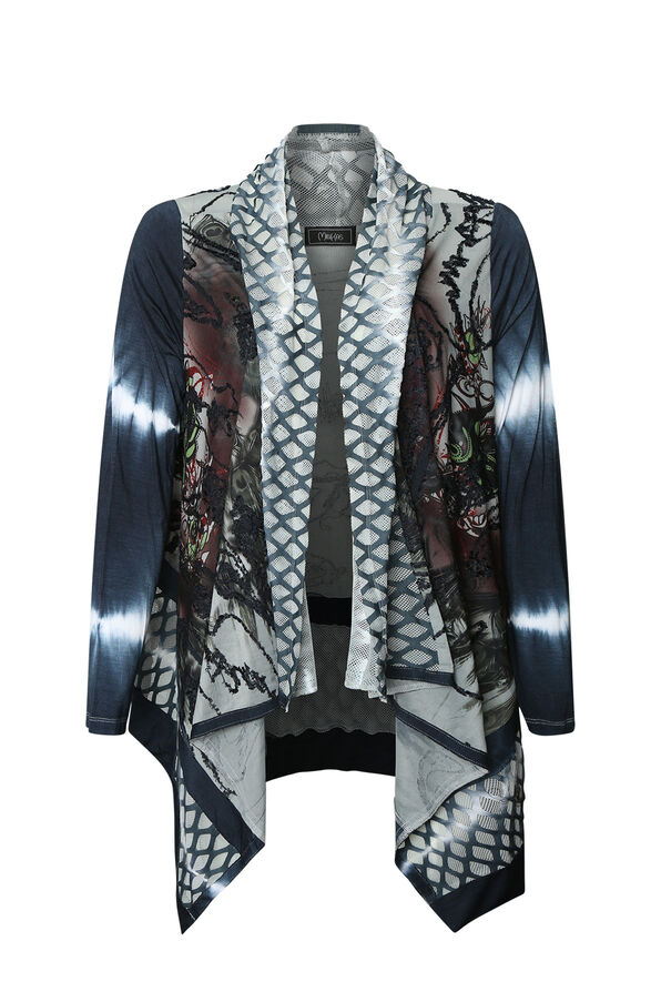 Elements Tie Dye Cardigan, Charcoal, original image number 0