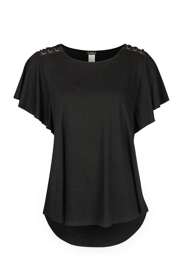 Flutter Sleeve Laced Shoulder Detail T-Shirt, Black, original image number 0