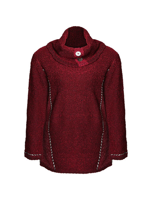 Cowl Neck Boucle Sweater with Button Detail, , original