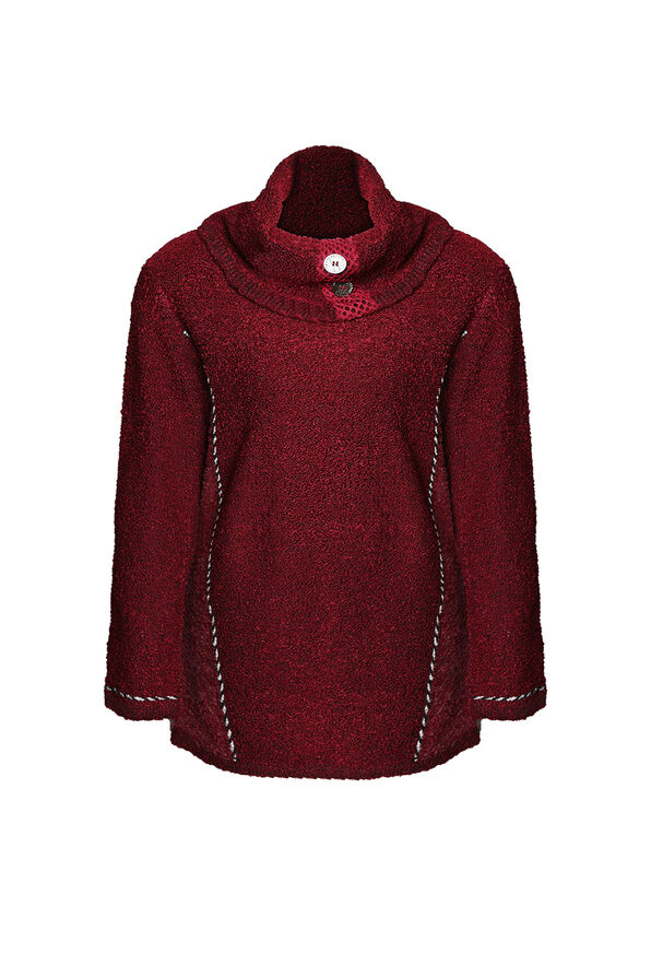 Cowl Neck Boucle Sweater with Button Detail, , original image number 1
