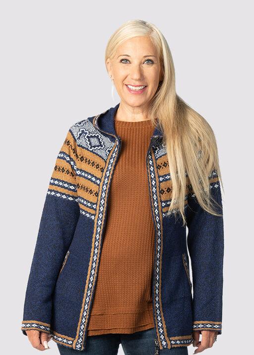 Cabin-Chic Sweater Hoodie, Navy, original