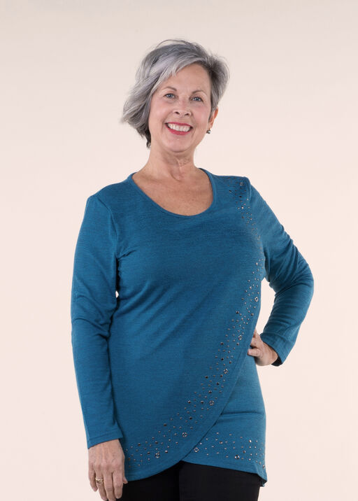 Long Sleeved Knit Tunic Top, Teal, original