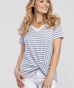 Knotted Striped Tee, Blue, original image number 0