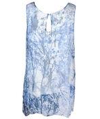 Sleeveless Chiffon Blouse with Keyhole Back, Blue, original image number 1