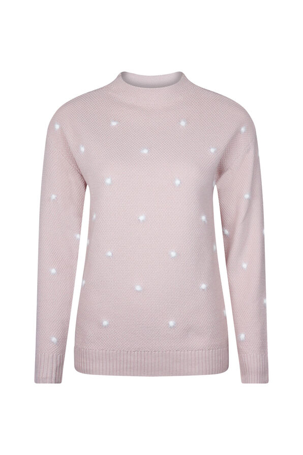 Eyelash Polka Dot Sweater, Pink, original image number 0