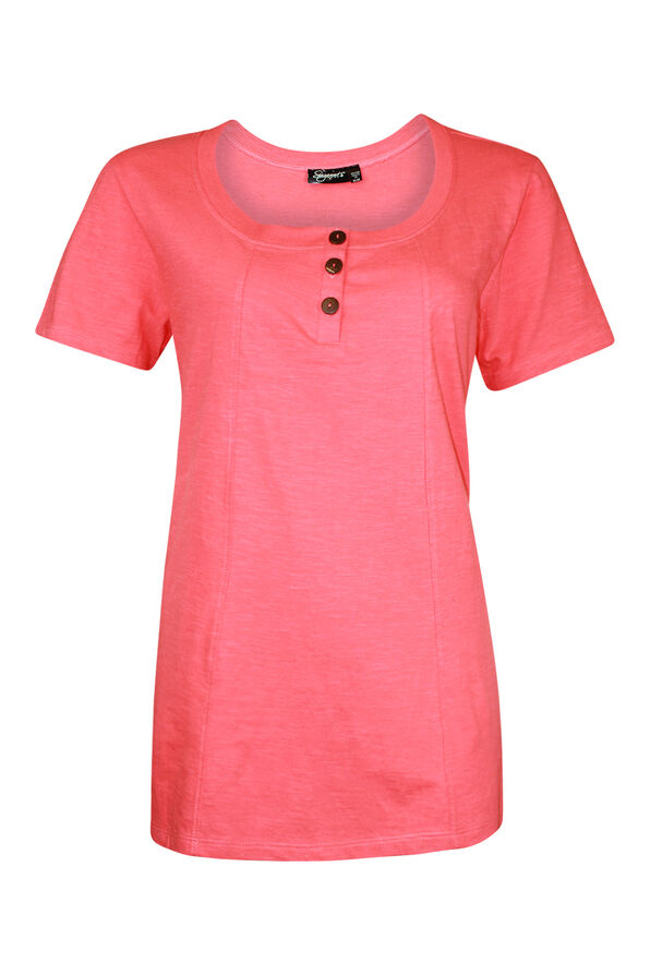 Cotton Short Sleeve T-Shirt with Coconut Buttons, , original image number 0