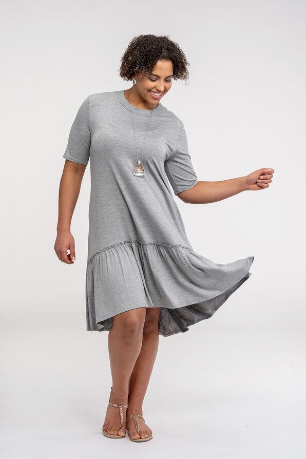 Short Sleeve T-Shirt Dress with Ruffle Hi-Lo Hem, Grey, original image number 2