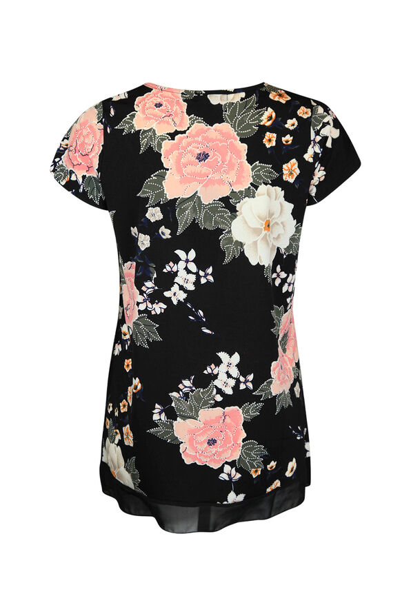 Floral Print Pintuck with Overlay Short Sleeve Top, Black, original image number 1