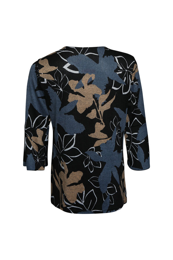 Autumn Leaves Top with Ruffle Sleeves, Black, original image number 1