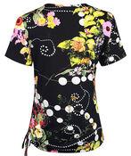 Floral Print Short Sleeve Top with Side Tie, Navy, original image number 1