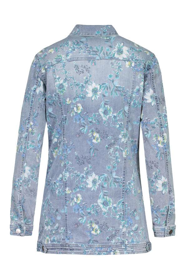 Floral Print Maxi Denim Jacket, Denim, original image number 3