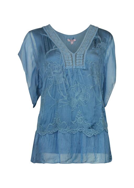 Short Sleeve Silk Embroidered Blouse , , original