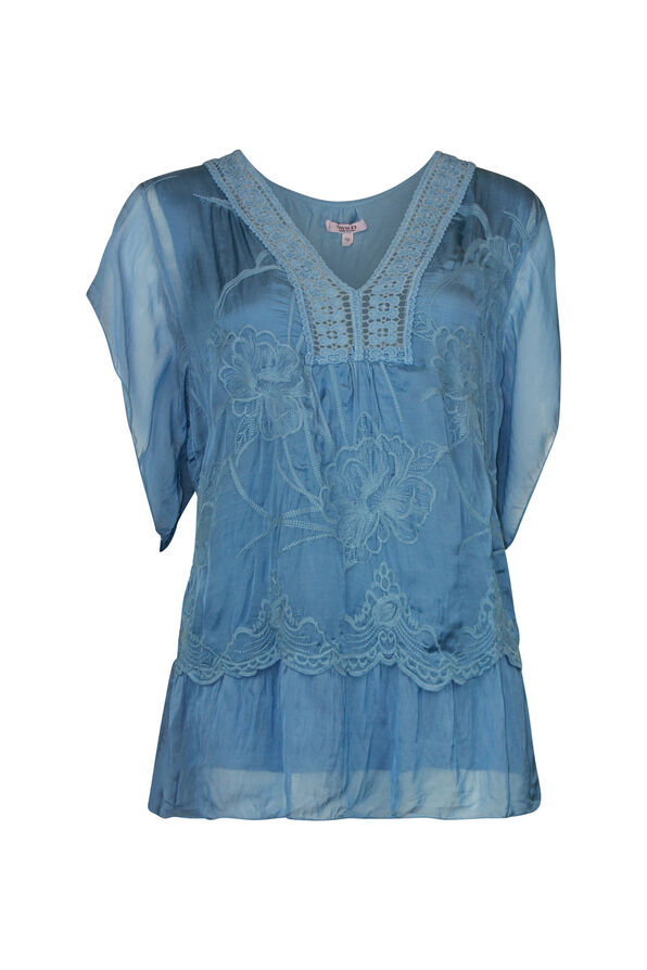 Short Sleeve Silk Embroidered Blouse , , original image number 0