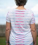 Tie Dye Striped Linen T-Shirt, Pink, original image number 1