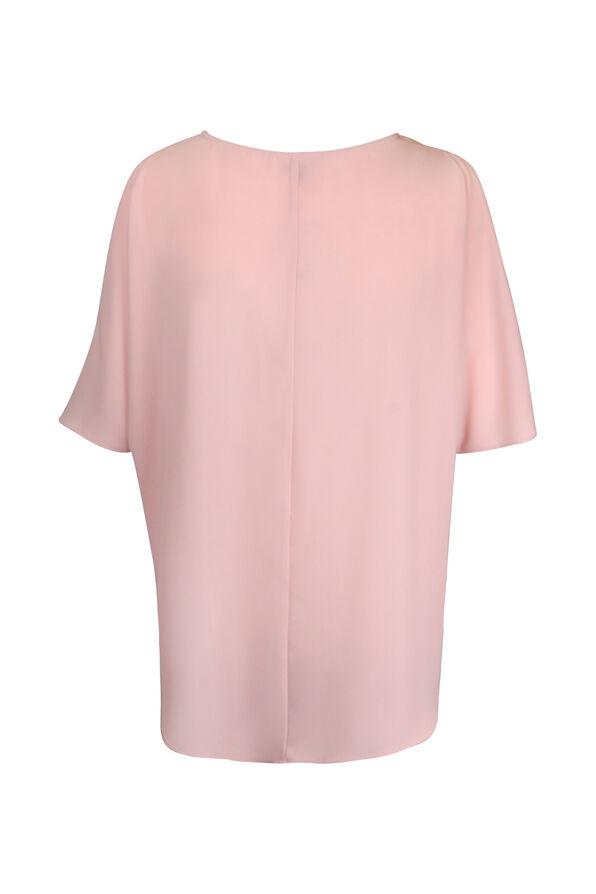 Short Sleeve Cold Shoulder Blouse with Ties, Pink, original image number 2