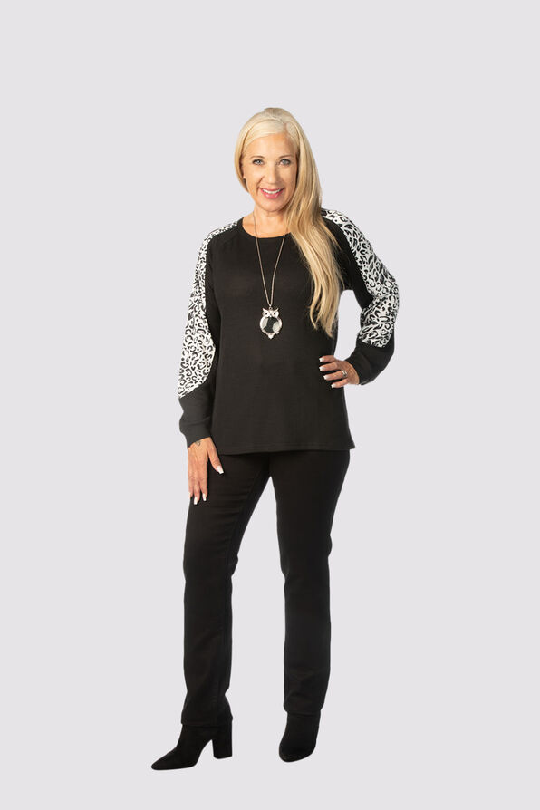Leopard-Edged Sweater, Black, original image number 1