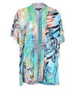 Drape Front Burnout Kimono, Turquoise, original image number 0