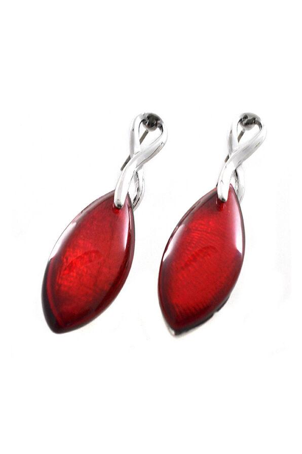 Ruby Red Drop Earrings, Silver, original image number 0