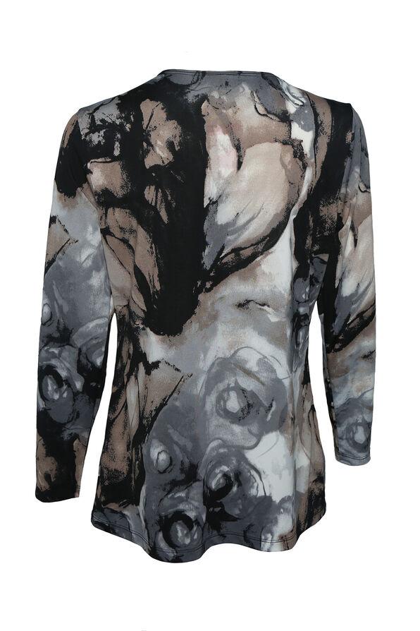 Smokey Print Long Sleeve Top , Grey, original image number 1
