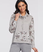 Cowl Athleisure Sweater, Grey, original image number 0